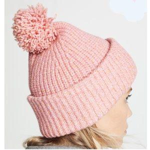 NEW! Rag & Bone Cheryl Pompom Knit Beanie - Pink